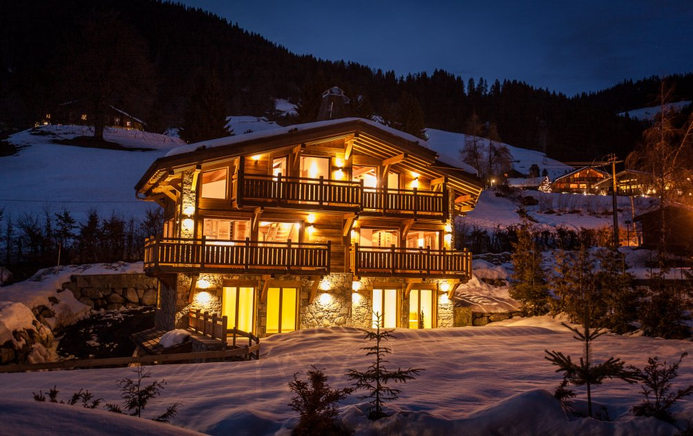 Chalet in Megeve France at night