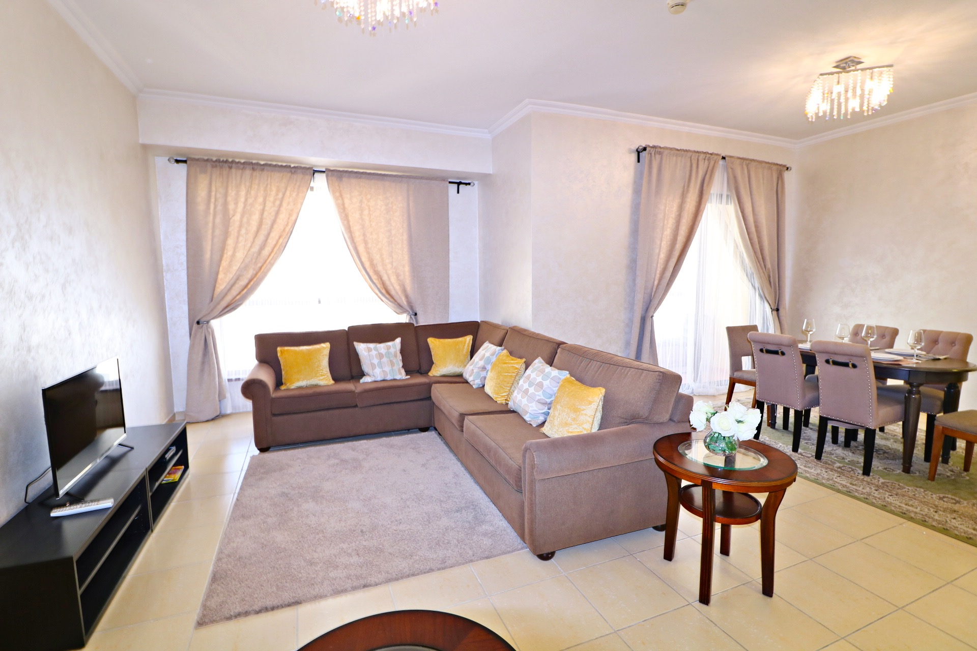Living room for short term rental at  Shams JBR Dubai