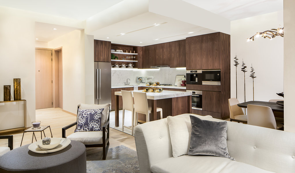 Living Room and Kitchen in RP Heights at Dubai Downtown