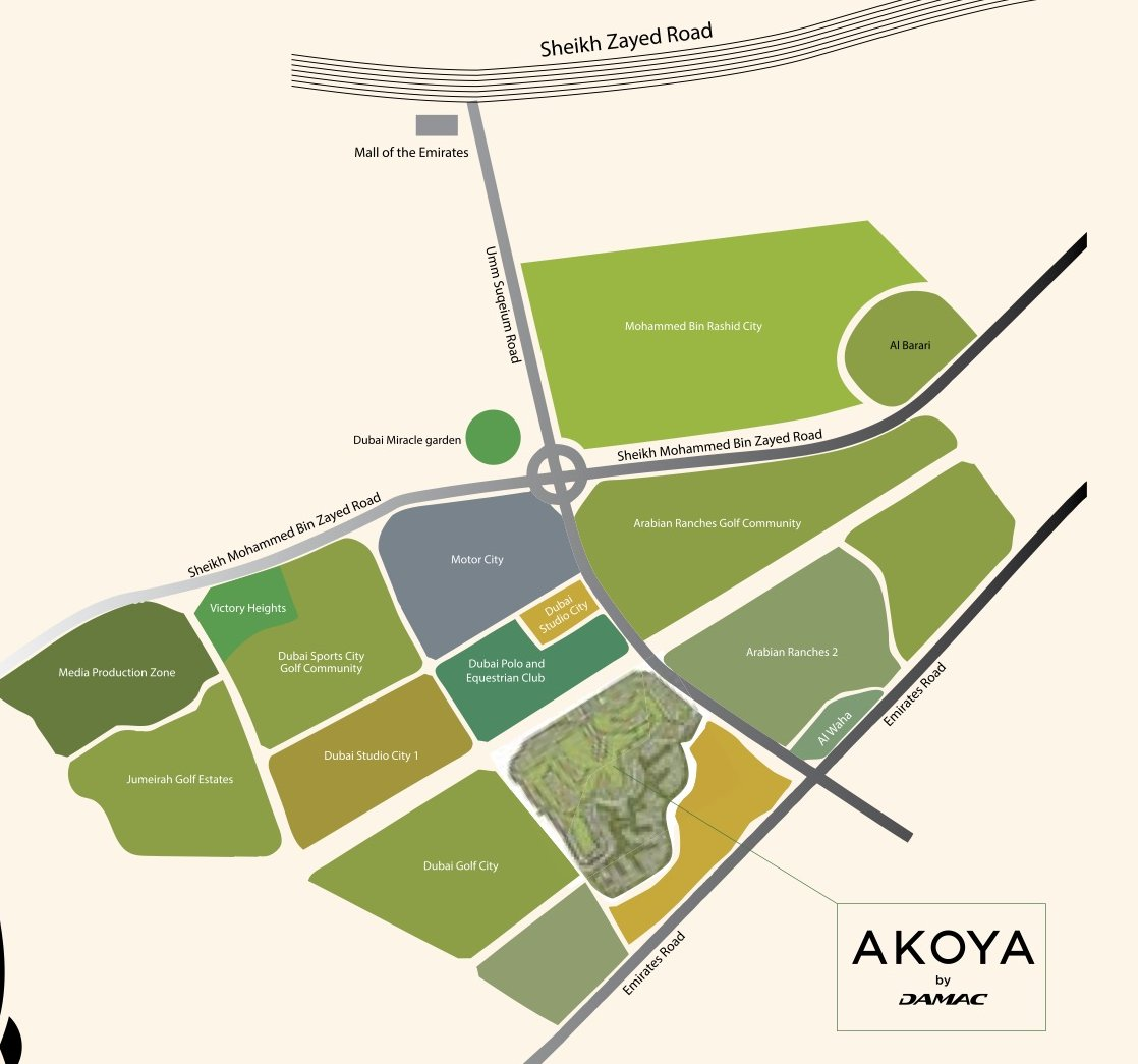 Map of Akoya in Dubai