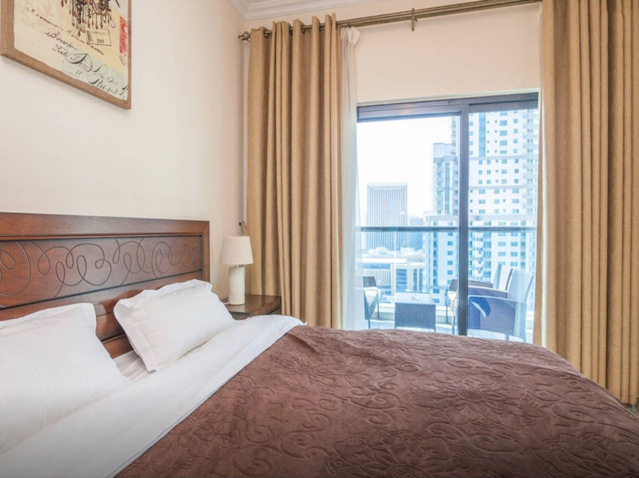 bedroom in apartment in Time Place Tower at Dubai Marina