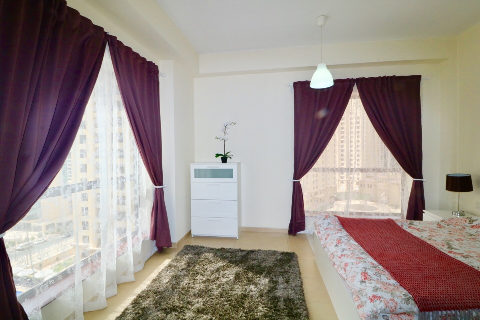 master bedroom in holiday apartment at bahar JBR Dubai