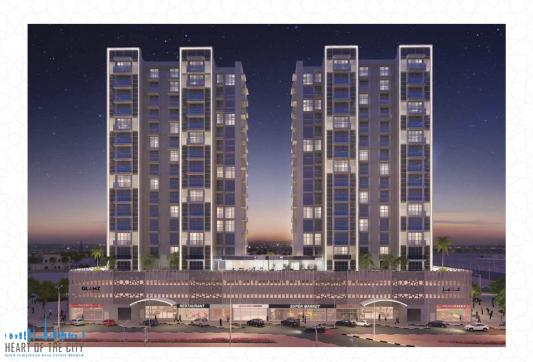 apartments for sale in GLAMZ by Danube at AL Furjan at night