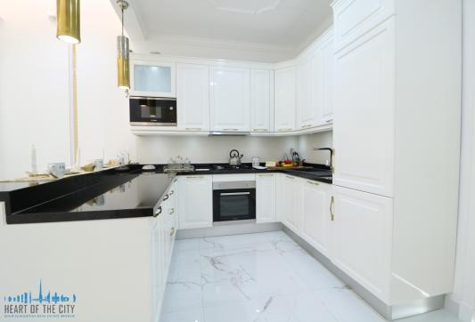 Kitchen in apartment for sale in Vincitore Boulevard at Arjan Dubai