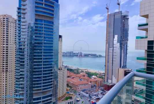 Seaview from apartment-duplex for rent in Sky View Tower in Dubai Marina