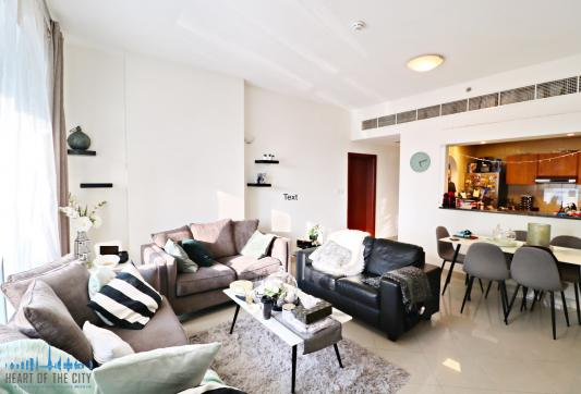 Sitting area in apartment for sale in Hub Canal 2 at Dubai Sports City